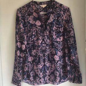 Rebecca Taylor 8 Blue Pink Floral silk blouse